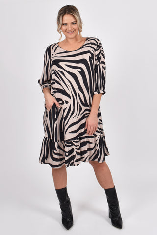 Flare Dress in Oak Zebra