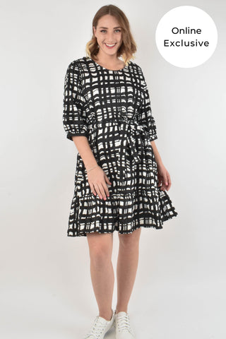 Flare Dress in Brush Stroke Gingham