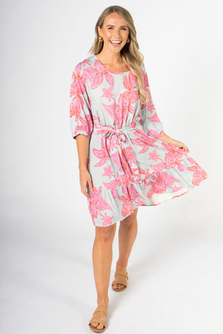 Flare Dress in Flamingo Daffodil