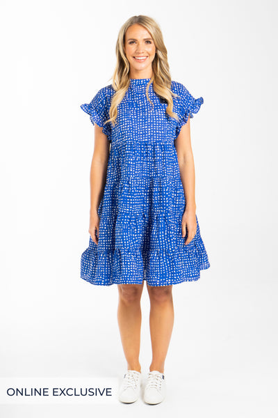 Fling Dress in Brushstroke Blue