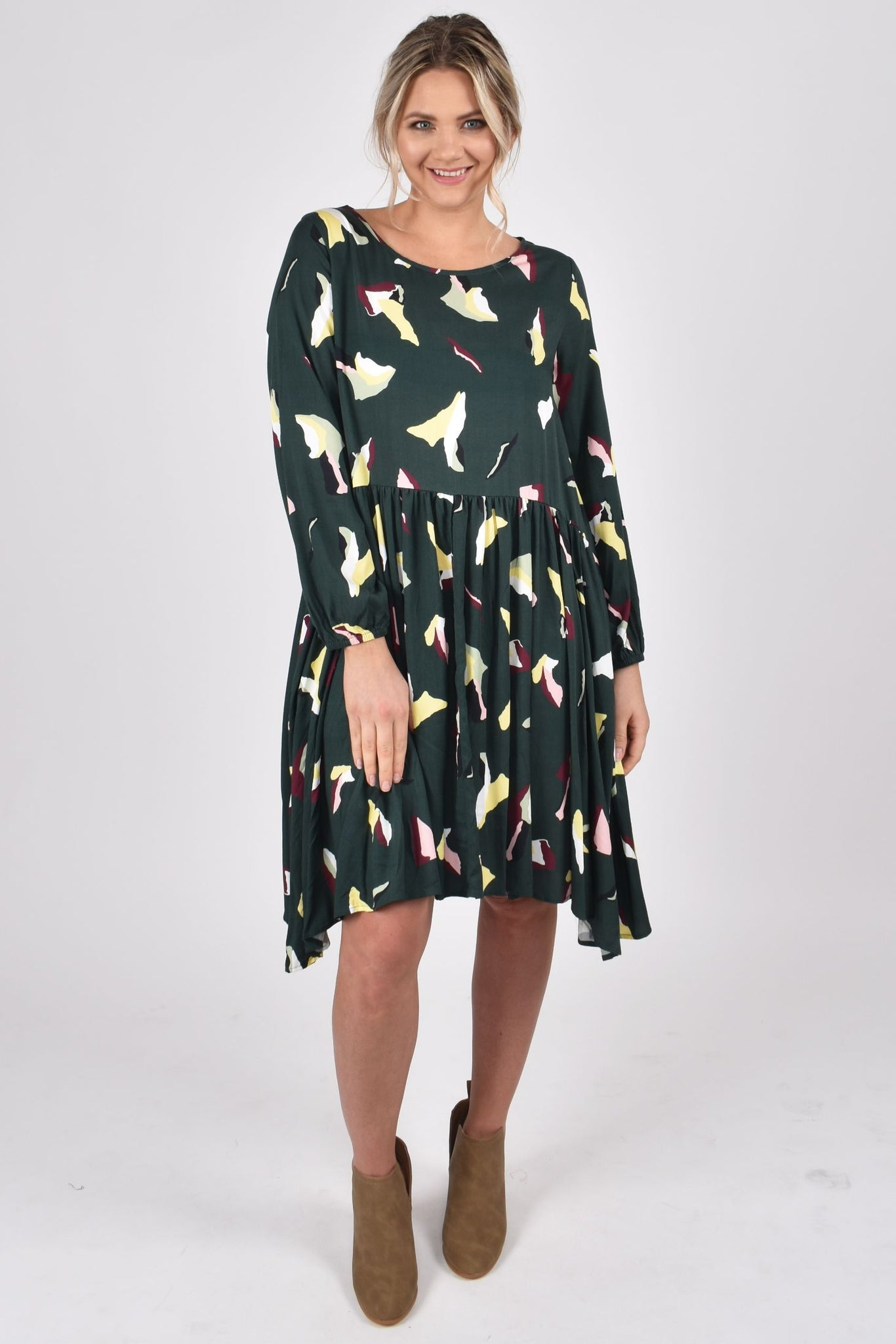 Flounce Dress in Paradise Green