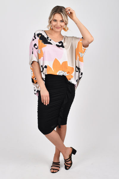 Hi Low Miracle Top in Blossom Leopard