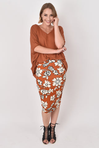 Ruche Skirt in Maple Wildflower