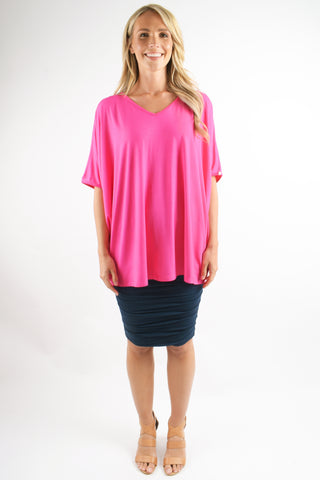 Hi Low Miracle Top in Hot Pink