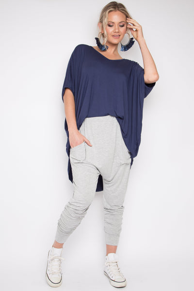 Bamboo Cuffed Droppy Pants in Marle Grey