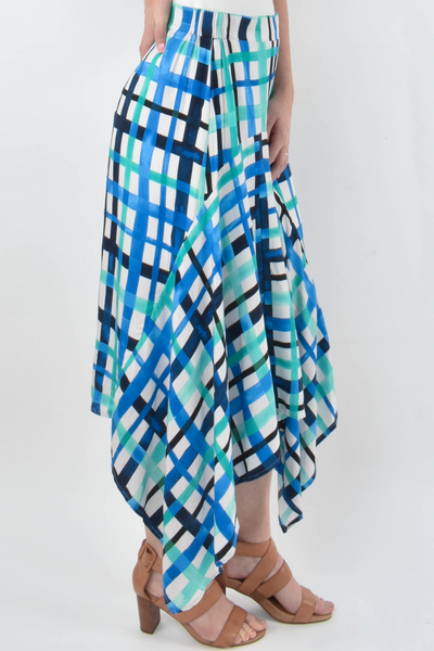 Kite Skirt in Ocean Check