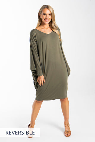 Long Sleeve Miracle Dress in Khaki