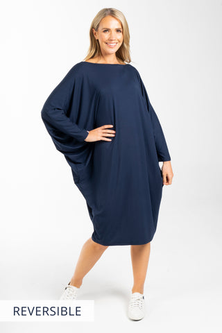 Long Sleeve Miracle Dress in Navy