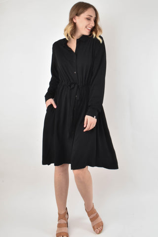 L/S Tie Shirt Dress in Black