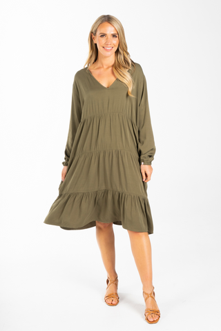Long Sleeve Chic Dress in Khaki