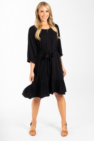 Long Sleeve Flare Dress in Black