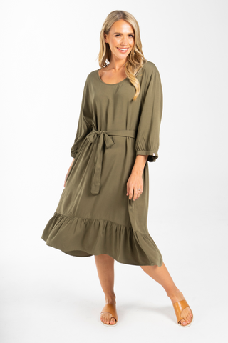 Long Sleeve Flare Dress in Khaki
