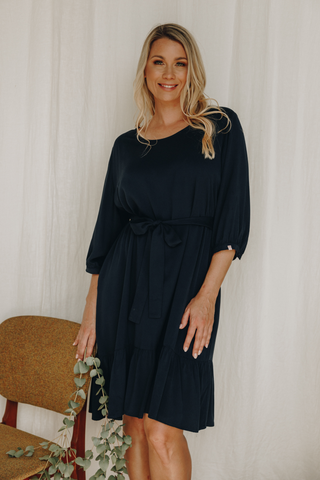Long Sleeve Flare Dress in Navy