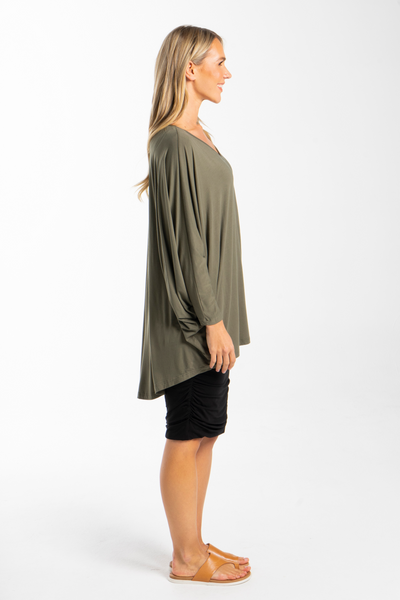 Long Sleeve Hi Low Miracle Top in Khaki