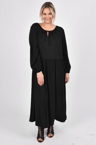 Long Sleeve Tie Front Dress in Black