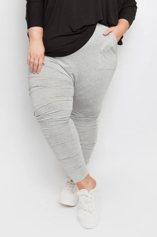 Cuffed Droppy Pants in Marle Grey