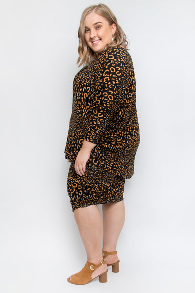 Ruche Skirt in Coffee Leopard