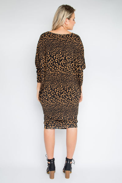 Fitted ruched skirt leopard print
