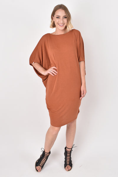 Miracle Dress in Textured Rust