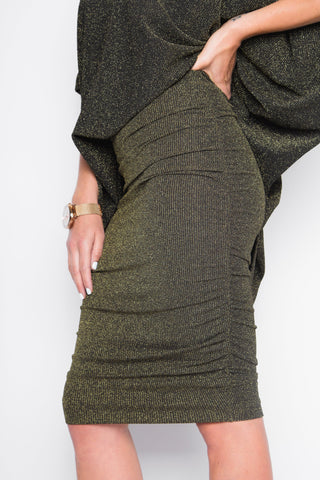 Metallic Ruche Skirt in Gold Sparkle