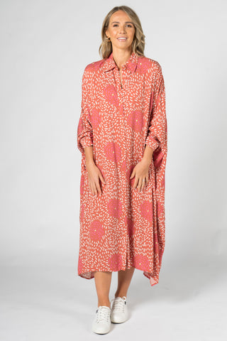 Miracle Shirt Dress in Coral Splash