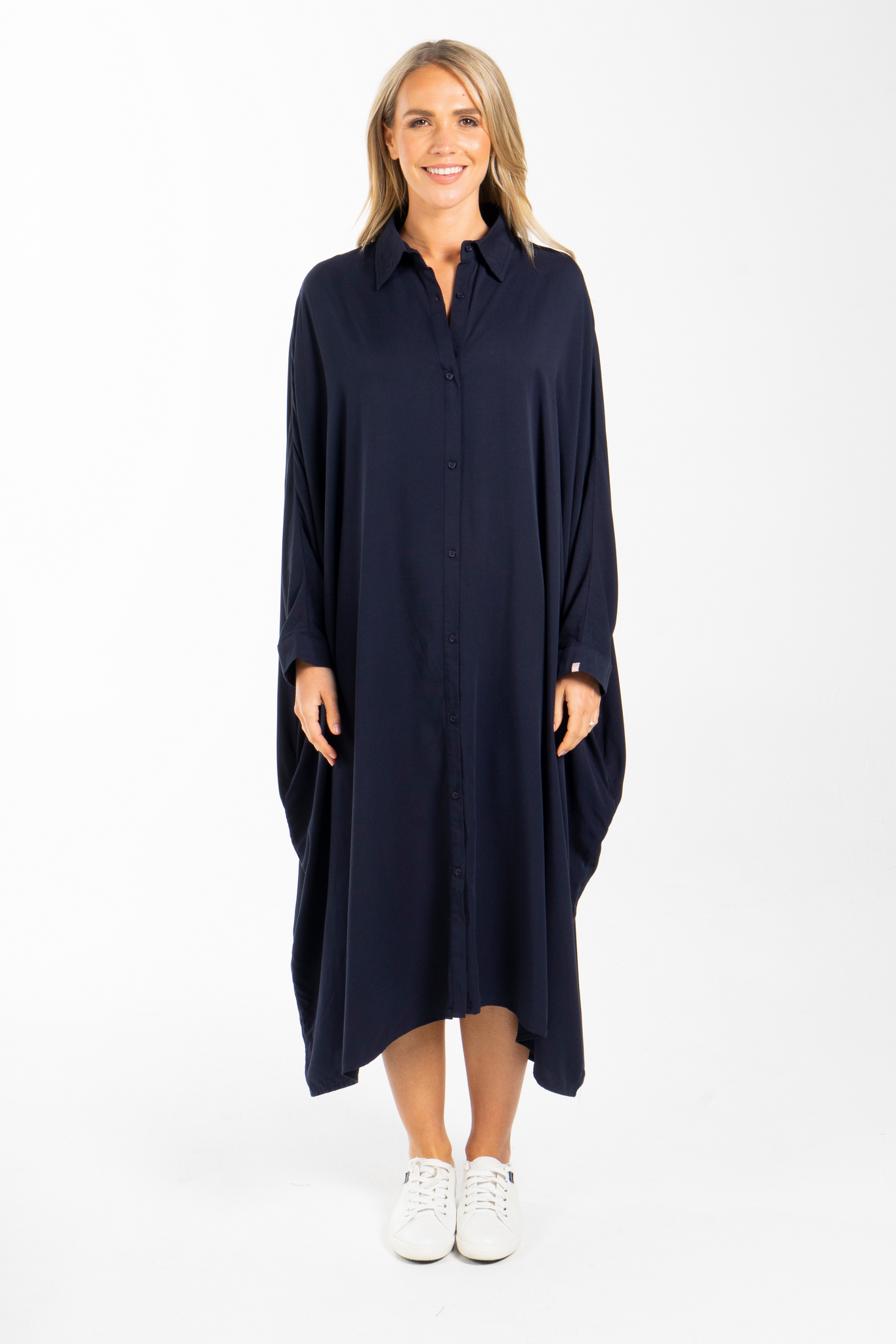 Miracle Shirt Dress in Navy