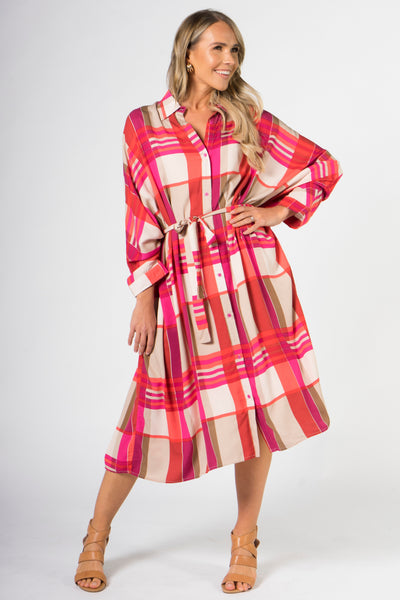 Miracle Shirt Dress in Pink Check