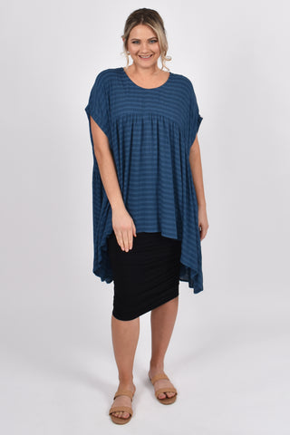 Opulent Top in Navy Textured Stripe