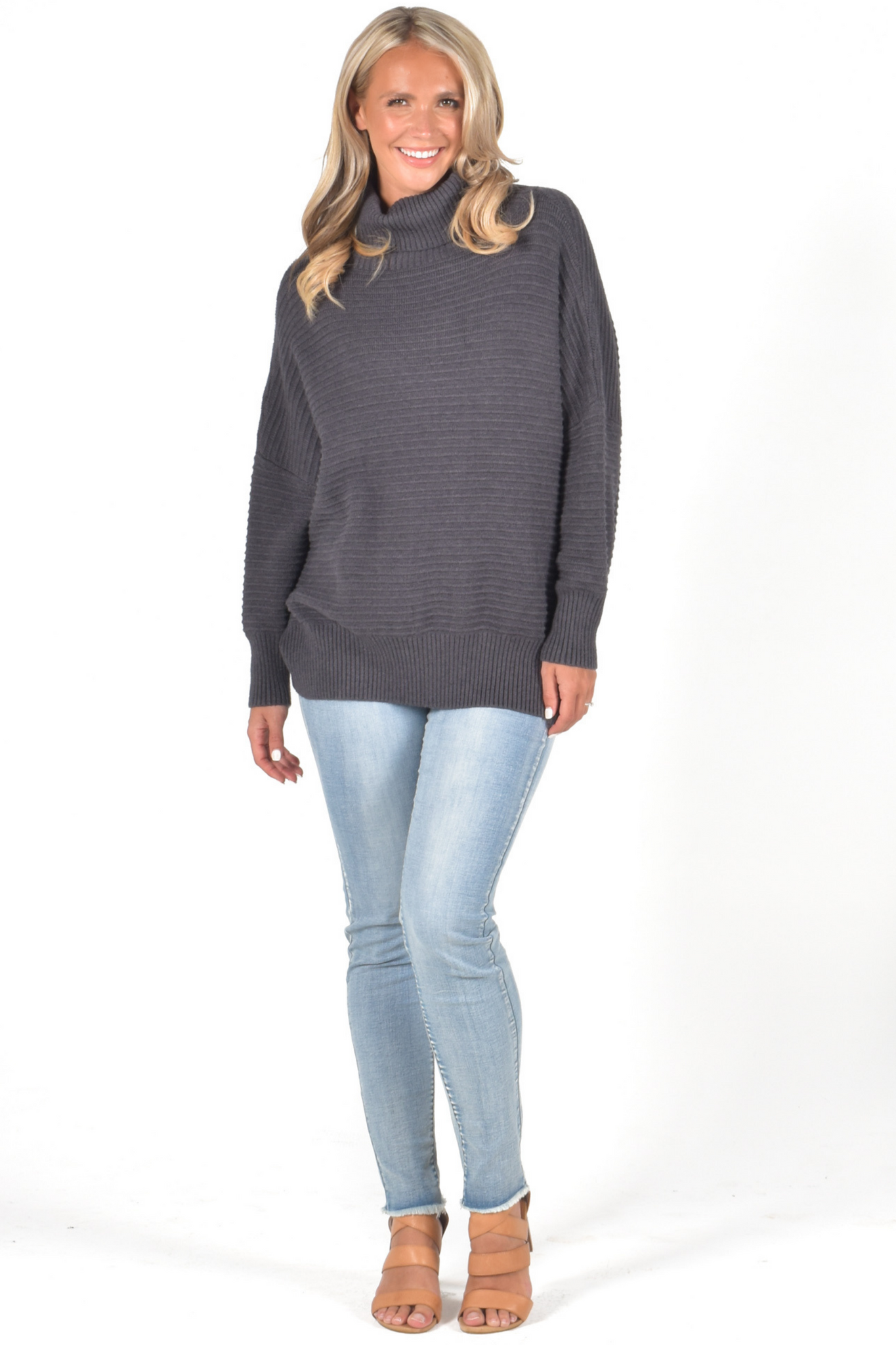 Off Duty Ribbed Knit Top in Charcoal
