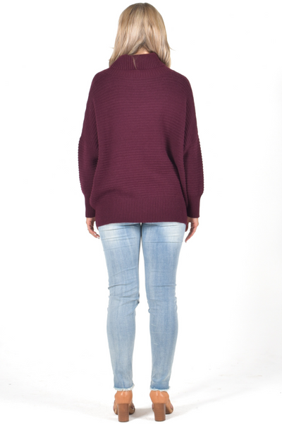 Off Duty Ribbed Knit Top in Maroon