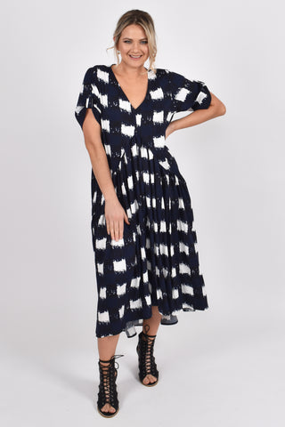 Peak Maxi Dress in Navy Check