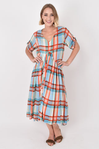 Peak Maxi Dress in Rainbow Plaid