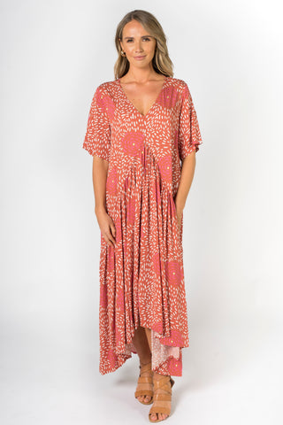 Peak Maxi Dress in Coral Splash