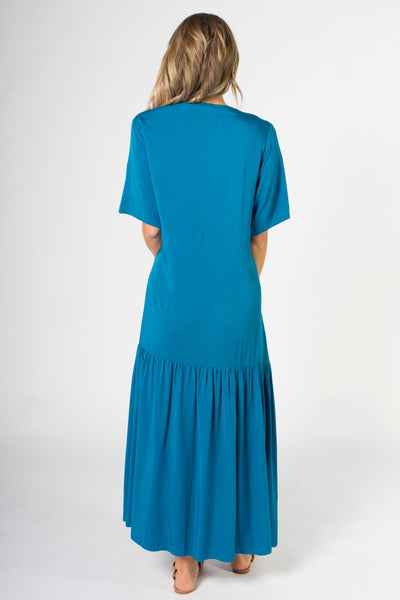 Peak Maxi Dress in Marine Teal