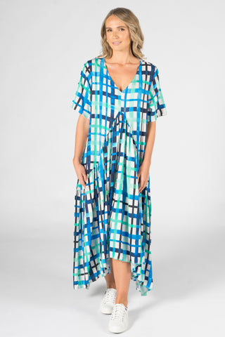 Peak Maxi Dress in Ocean Check