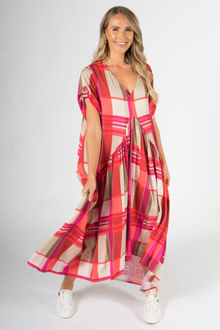 Peak Maxi Dress in Pink Check