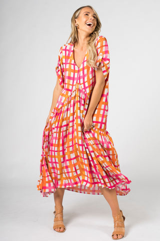Peak Maxi Dress in Sunset Check