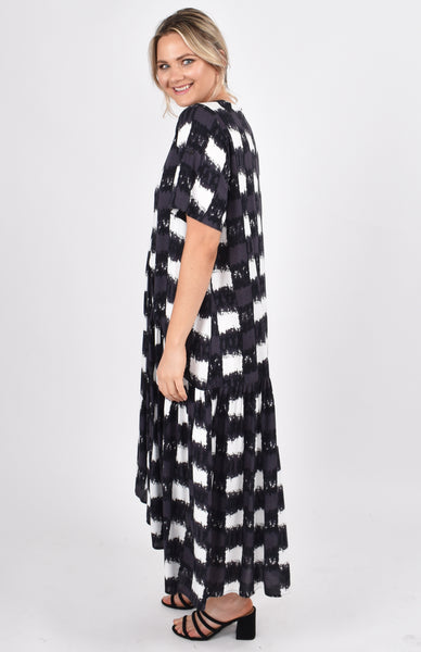 Peak Maxi Dress in Charcoal Gingham