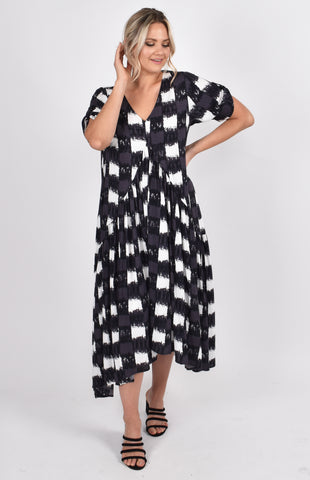 PRE-ORDER Peak Maxi Dress in Charcoal Gingham