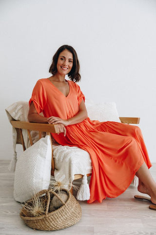Peak Maxi Dress in Coral