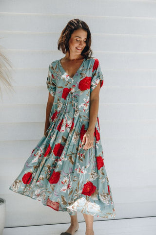 Peak Maxi Dress in Green Rose