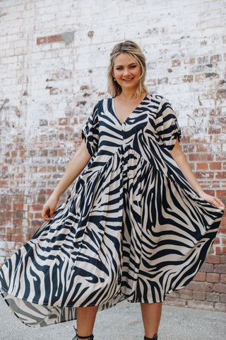 Peak Maxi Dress in Oak Zebra