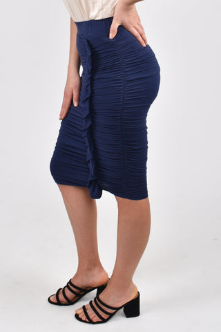 Ruche Ruffle Skirt in Navy