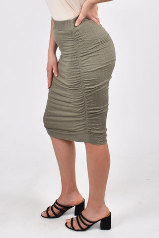 Ruche Skirt in Textured Green