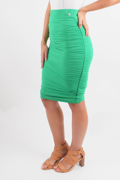 Ruche Skirt in Green Apple