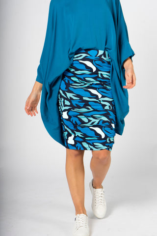 Ruche Skirt in Ocean Reef