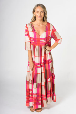 Ruffle Dress in Pink Check