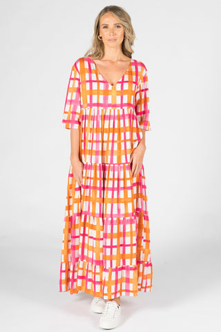 Ruffle Dress in Sunset Check