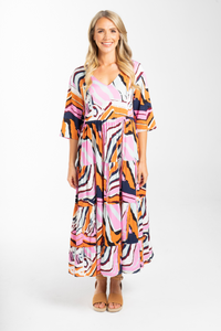 Ruffle Dress in Tropical Zebra