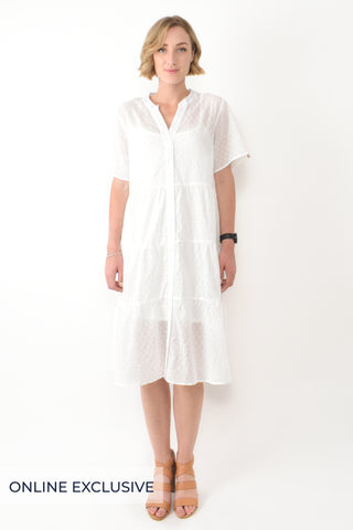 Short Sleeve Tier Shirt Dress in White Shell